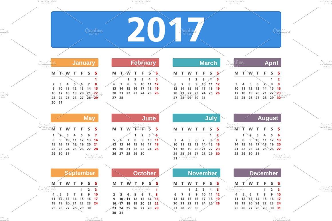 2017 calendar graphics creative market