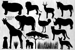 African Animal Safari Silhouettes