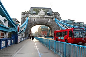 London Bridge with Red Bus