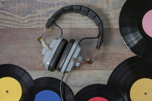Vinyl records and headphones