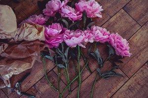 pink peonies on the floor
