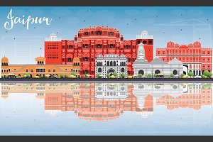 Jaipur Skyline with Color Landmarks