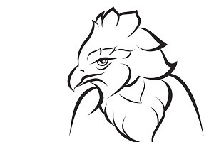 Line art of crown eagle