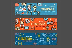 Cinema Banner Card Tickets Set