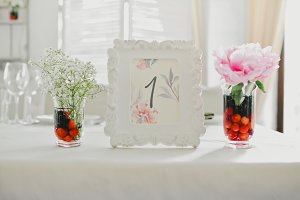Frame with Flowers. Wedding day