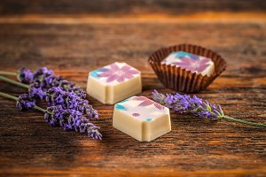 Chocolate praline with lavender
