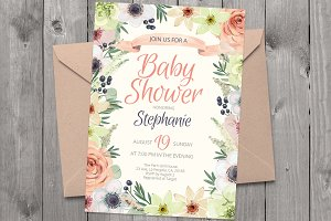Floral invitation PSD template 01AP