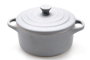 gray ceramic cooking Pot