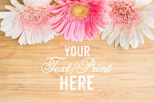 Rustic Pink Flowers on Wood Mockup