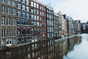 City view of Amsterdam on canal