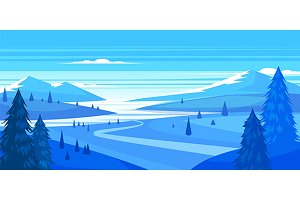 Winter landscape (vector)