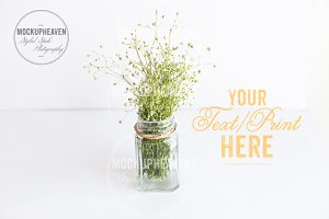 Mason Jar on White Desktop Stock
