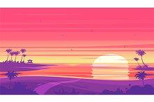 Sunset beach landscape  (vector)