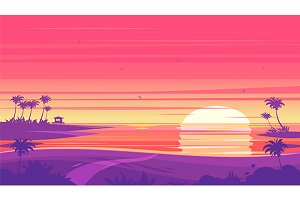 Sunset beach landscape  (vector)