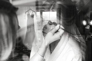 Applying make up to bride