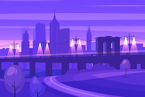 Night city landscape (vector)