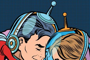 Retro love couple astronauts