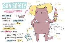 Sun Safety illustration. Funny cat.