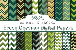 Green Chevron Digital Papers