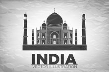 Taj Mahal India Vector illustration