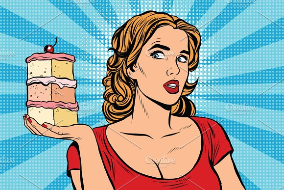 Pop art girl diet cake