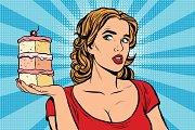 Pop art girl diet cake