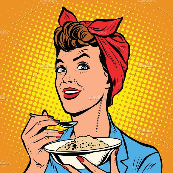 Woman with bowl of delicious cereal in Illustrations