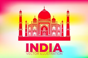 India Taj Mahal sunset vector