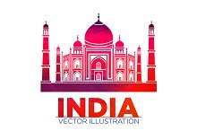 India Taj Mahal vector