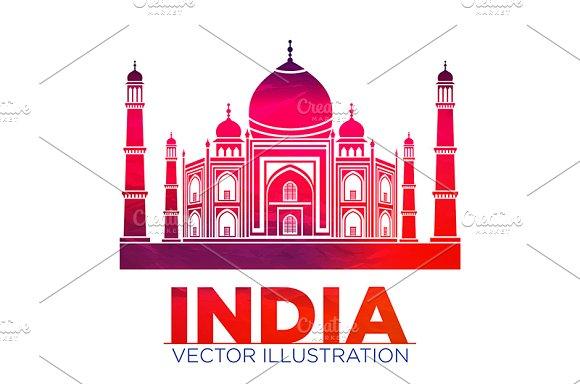 India Taj Mahal vector