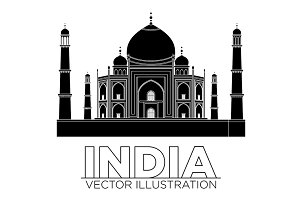 india Taj mahal temple vector