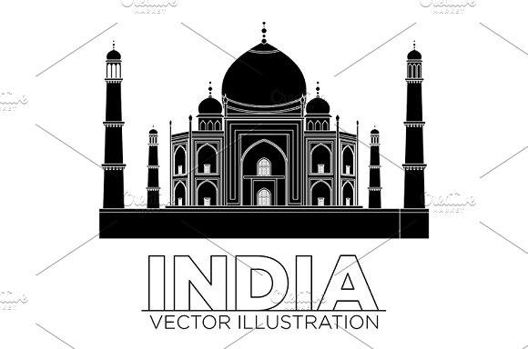 india Taj mahal temple vector