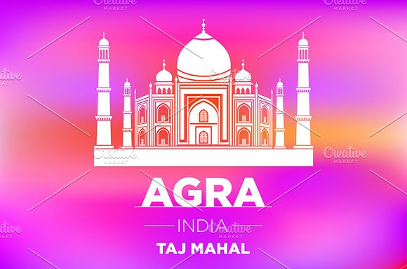 AGRA INDIA Taj Mahal vector