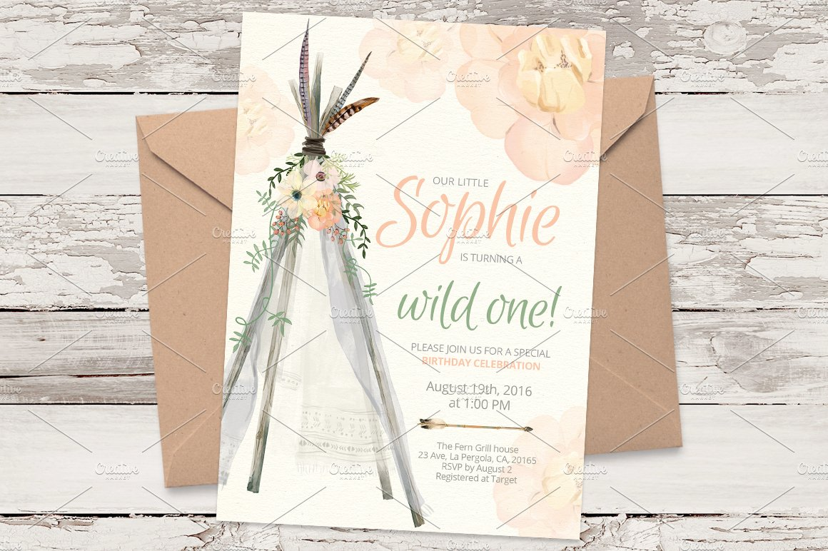 Teepee B Day Invitation Template 02 Templates Creative Market