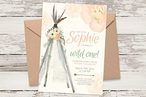 TeePee B-Day invitation template 02