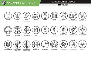 Concept line icons - biology