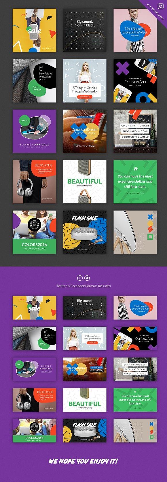 Social Media Booster Kit 2 Instagram Templates Creative Market