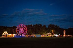 Country Fair Amusement Park At Night