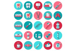 Dental Icons on Circles