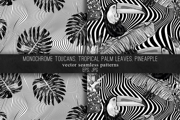 Toucans, leaves,pineapple patterns