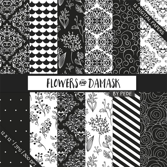 Flowers and damask digital paper