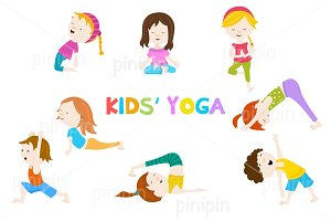 Yoga Poses For Kids Illustrations Creative Market