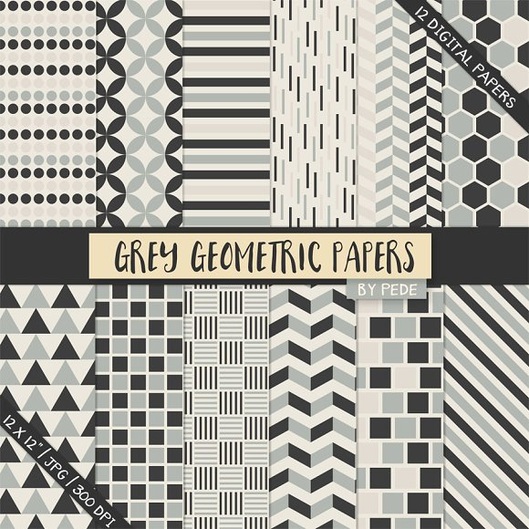Grey geometric paper pack