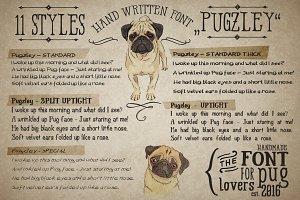 """11 Handmade Font Family """"Pugzley"""""""