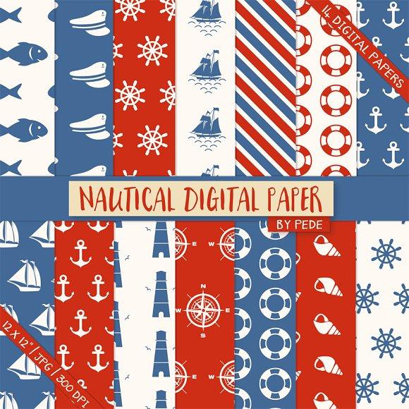Nautical digital paper pack in Patterns
