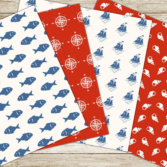 Nautical digital paper pack in Patterns - product preview 1