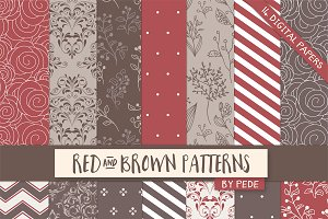 Red and brown digital paper pack