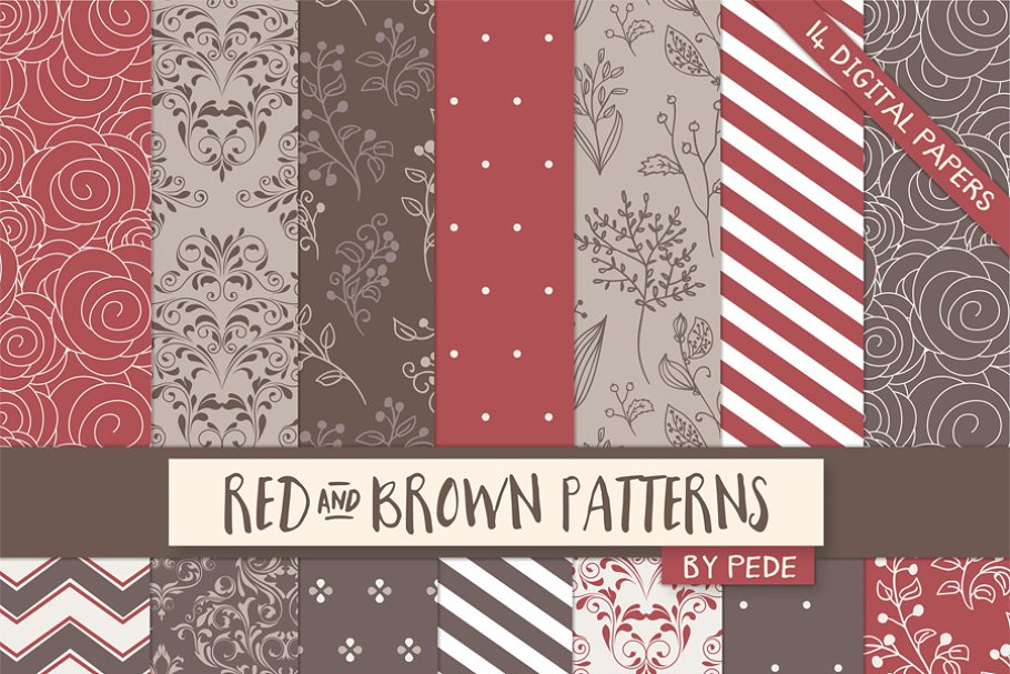 Red And Brown Digital Paper Pack Custom Designed Graphic Patterns Creative Market