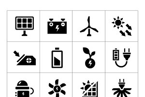 Set icons of alternative energy
