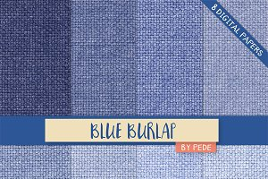 Blue burlap digital paper pack